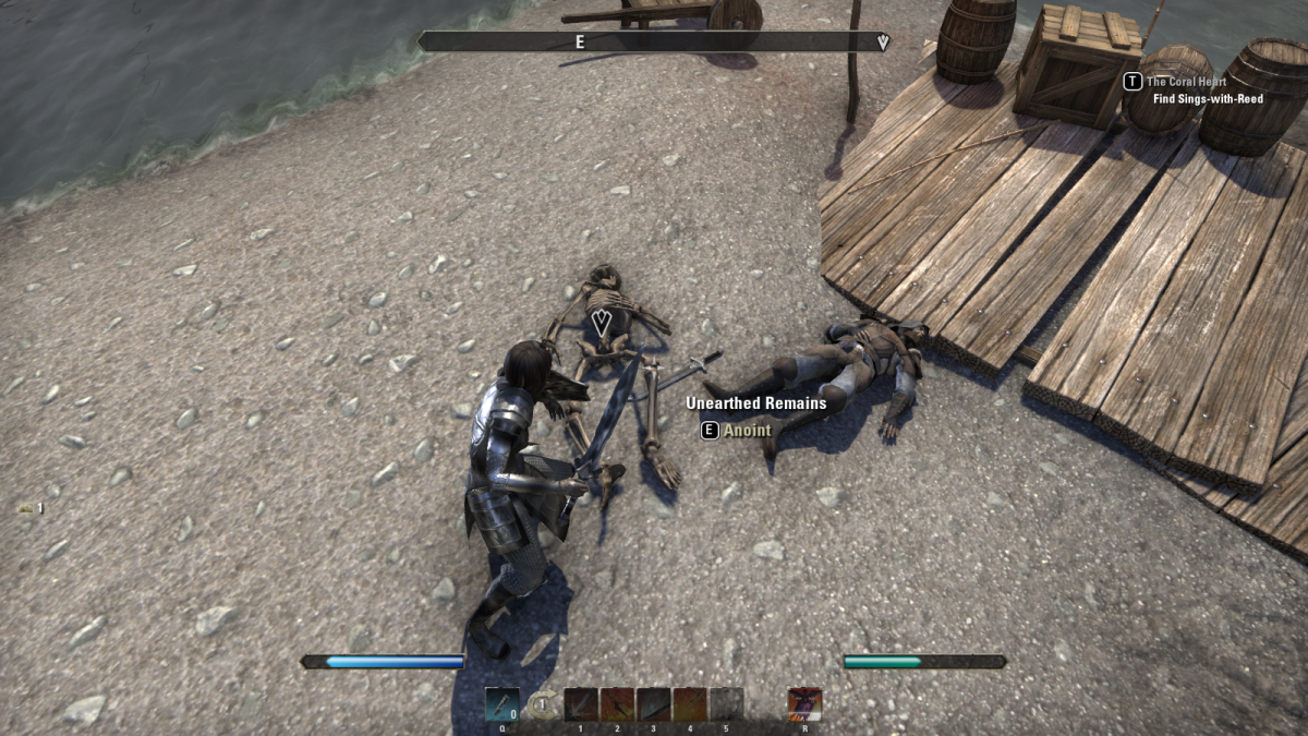Searching bodies on the seaside of Vivec's Antlers during the Cleansing the Past quest in The Elder Scrolls Online.