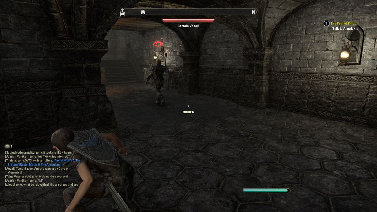 Hiding from guards while infiltrating the territory of the Indorils of Kragenmoor during the Aggressive Negotiations quest of The Elder Scrolls Online.