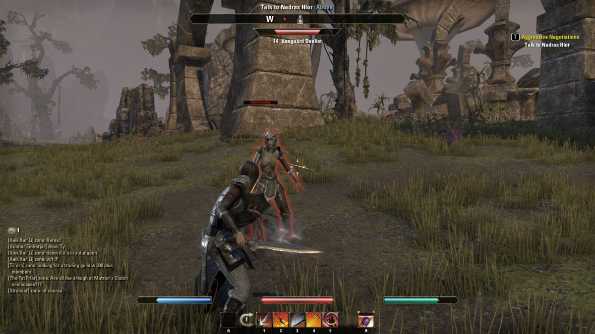 Conducting some Aggressive Negotiations with guards outside Kragenmoor in The Elder Scrolls Online.