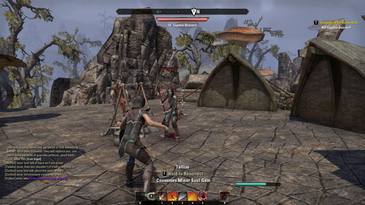 Battling Dunveril on the outskirts of Kragenmoor during the Vengeance for House Dres quest in The Elder Scrolls Online.