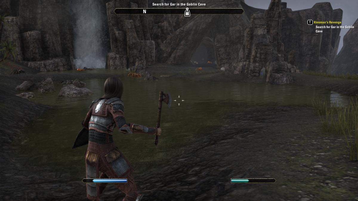 Killing spiders near the Goblin Cave of Kinsman's Revenge in The Elder Scrolls Online.