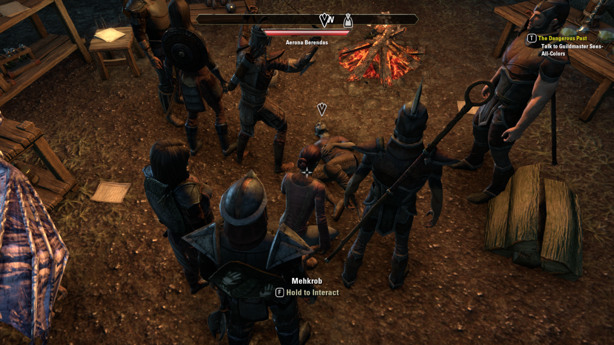 Investigating a body during the Mad Medicine quest in The Elder Scrolls Online.