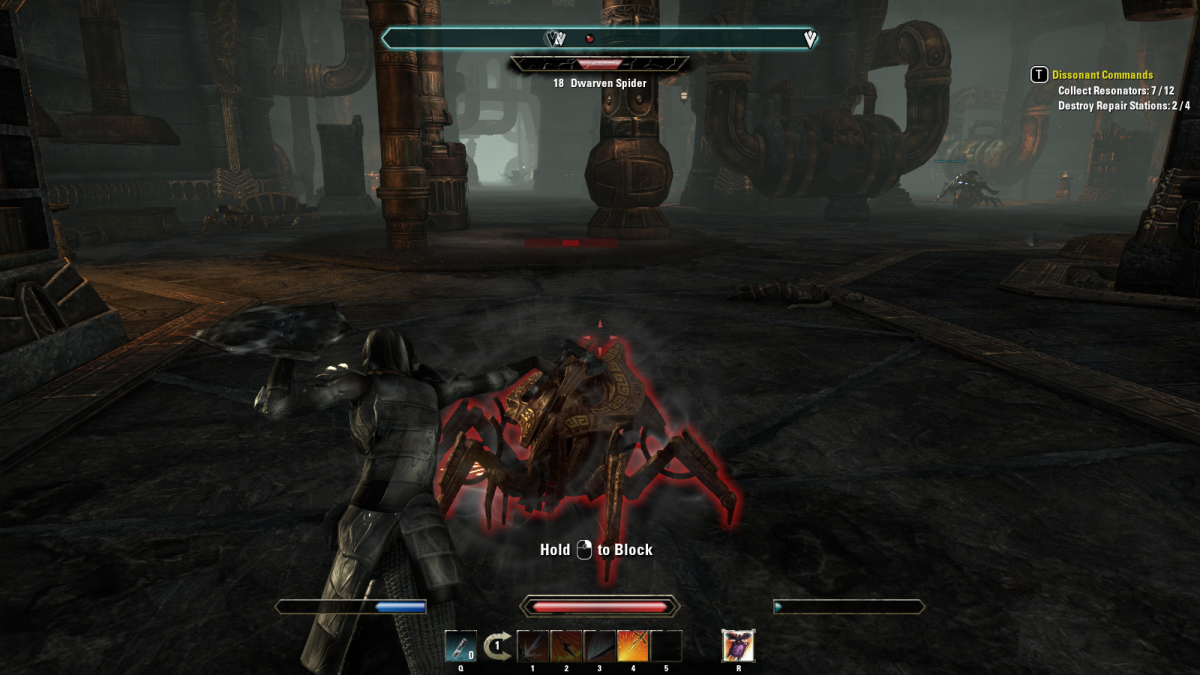 Battling a Dwarven Spider construct during the Dissonant Commands quest in The Elder Scrolls Online.