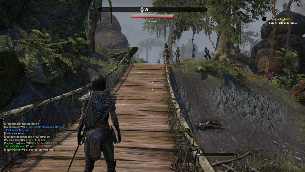 Crossing a bridge near Stormhold in The Elder Scrolls Online.