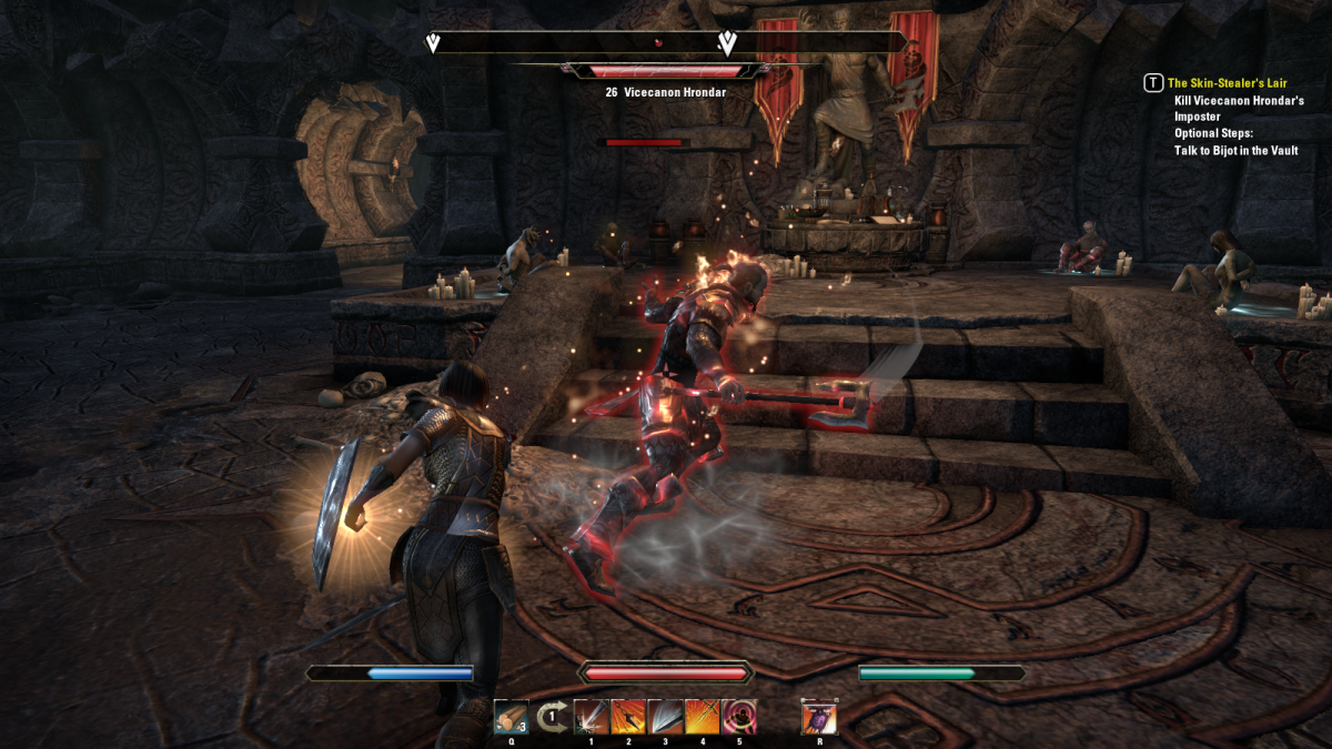 Battling the Skin-Stealer in the Skin-Stealer's Lair, and the Elder Scrolls Online quest.