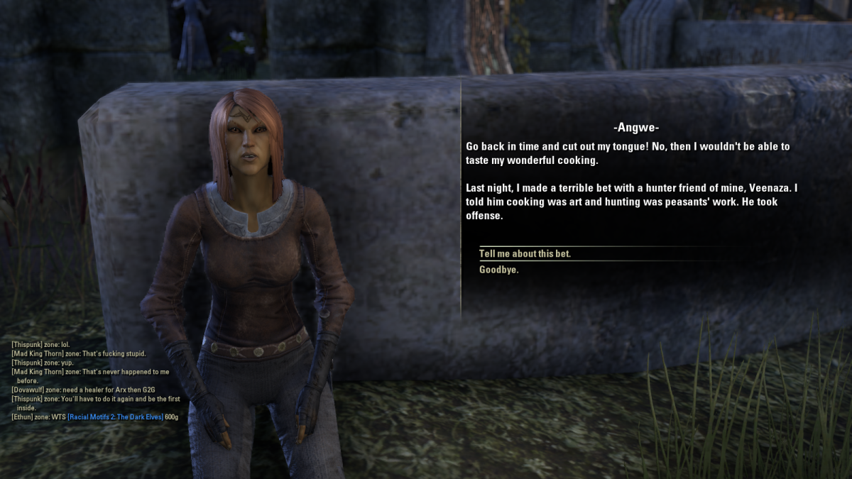 Angwe provides details on the Shadowfen Smorgasbord quest in The Elder Scrolls Online.