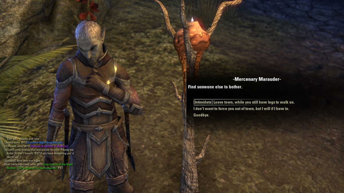 A Mercenary Marauder, one of many troublemakers patrolling Stormhold during the Unwelcome Guests quest in The Elder Scrolls Online.