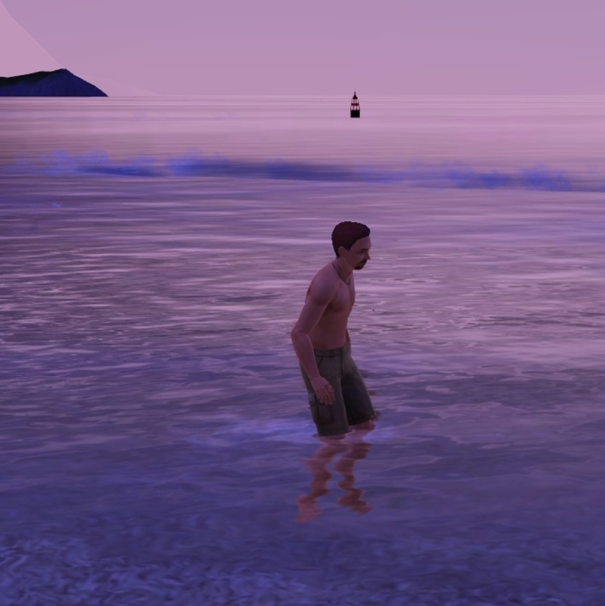 A Sim swimming in the ocean, wishing he has the Surf's Up Sun & Fun Wave Station.