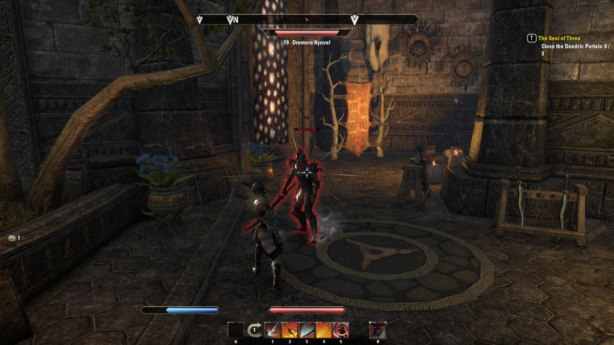 Battling a demon that has befouled a sacred temple of Mournhold in The Seal of Three quest in The Elder Scrolls Online.