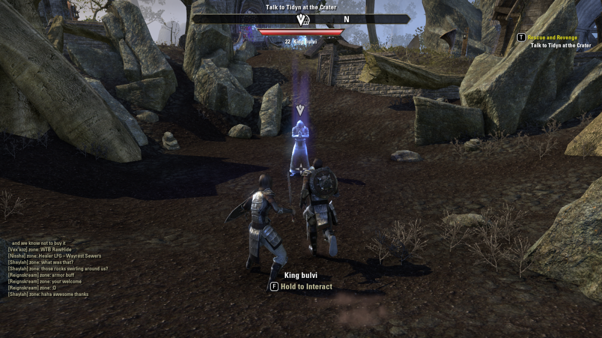 Battling through a town of vengeful, unhappy ghosts during the Restless Spirits quest of The Elder Scrolls Online.