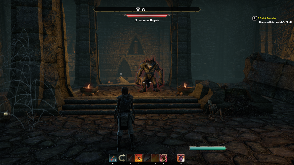 Facing off against a Varvesuu Nograta, a demon of terrible power hiding in the Shrine of Saint Veloth during the A Saint Asunder quest in The Elder Scrolls Online.