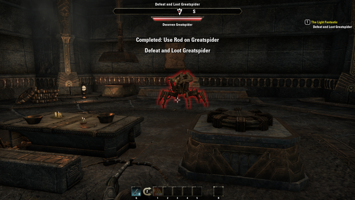 Battling the massive Dwarven Greatspider during The Dungeon Delvers quest in The Elder Scrolls Online.
