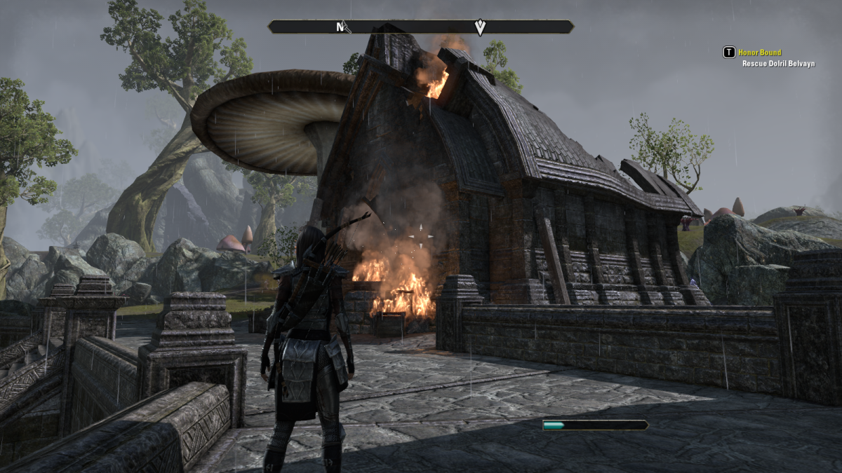A burning building in Muth Gnaar, a ramshackle village in Mournhold during the events of The Elder Scrolls Online.
