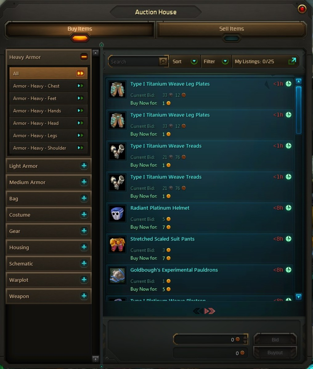 The Wildstar Auction House allows you to sell weapons, armor, and decor items.