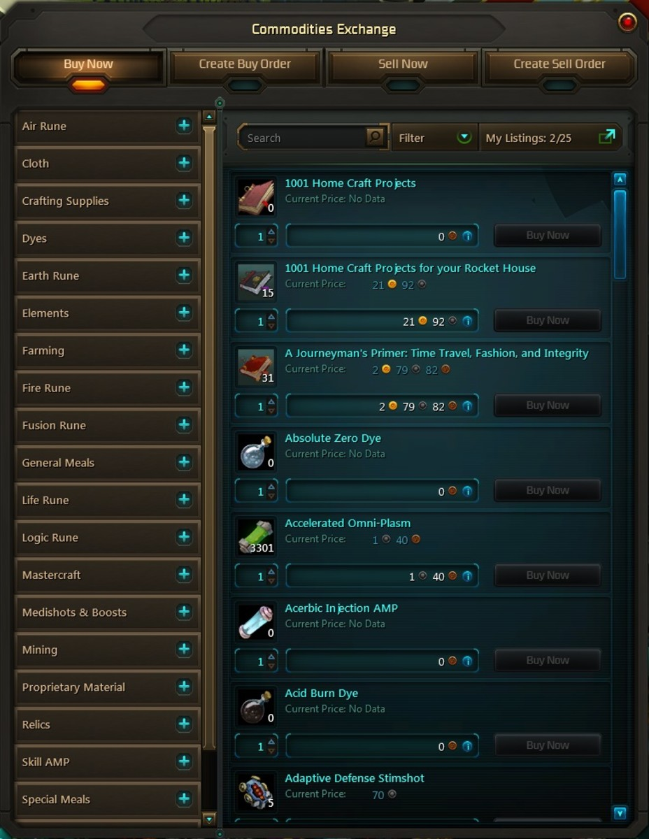 The Wildstar Commodities Market allows you to sell commodities, such as gathered materials.