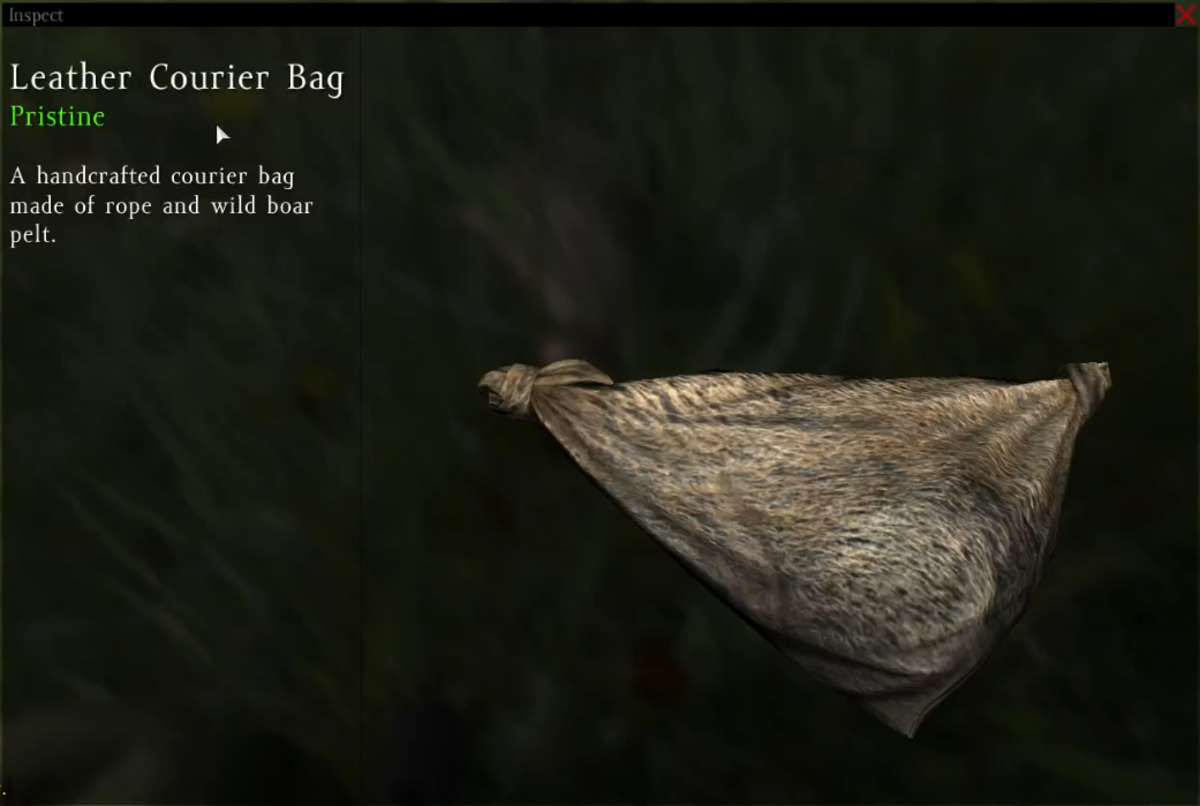 A Lather Courier Bag made from wild boar pelt.