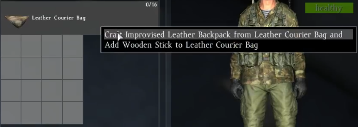 You will be asked if you want to put the Wooden Stick inside the courier bag, or craft an Improvised Leather Backpack