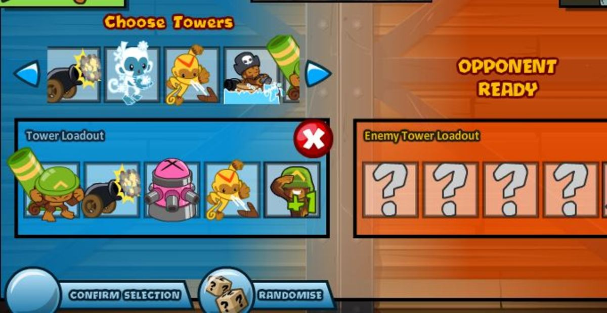 A player, choosing his towers, depending on the map, and possibly depending them on the opponent's.
