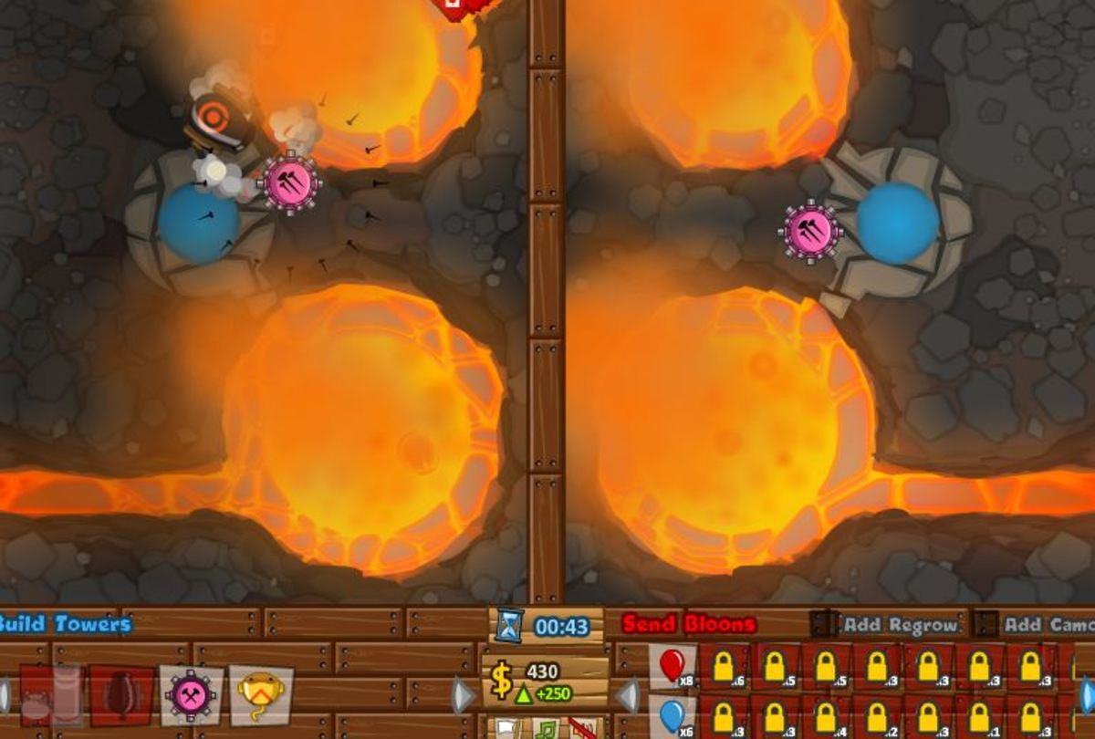 Player starting with a basic tower. The opponent chooses a the same: A tack shooter