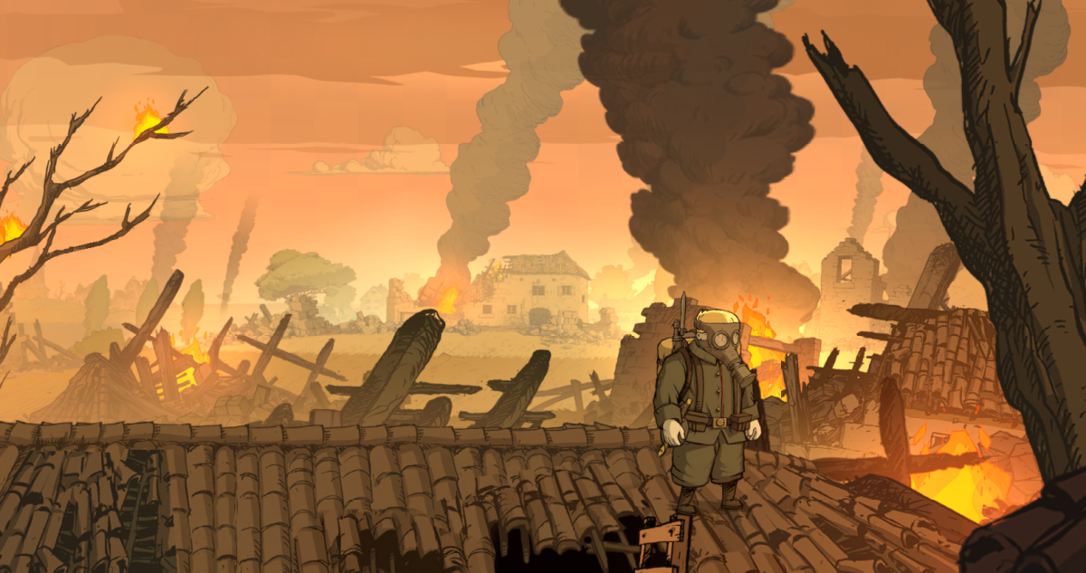 Freddie walks along the roof of a farm in Valiant Hearts.