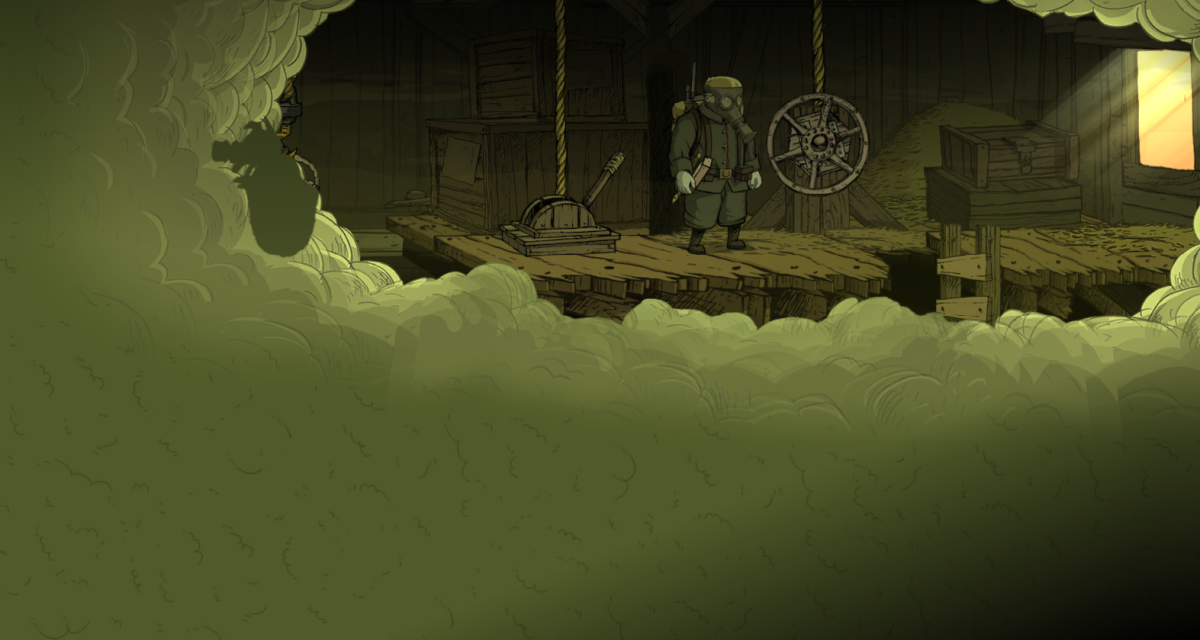 Freddie navigates through a gas-filled barn in Valiant Hearts.