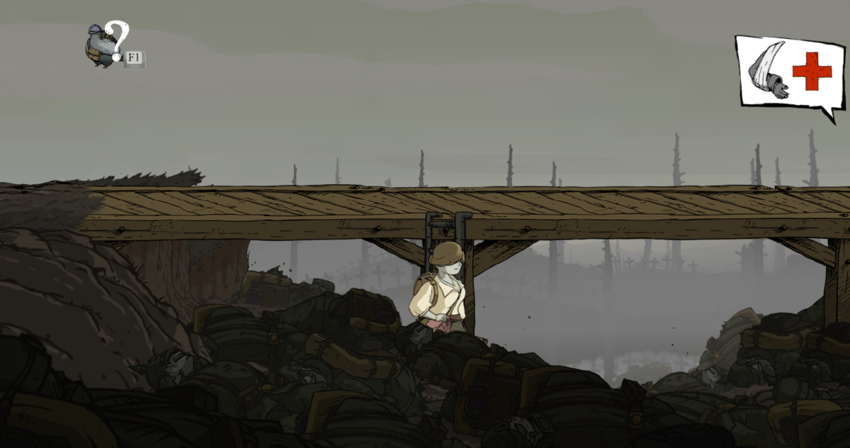 """Anna picks through a heap of dead soldiers in Marne in """"Valiant Hearts."""""""