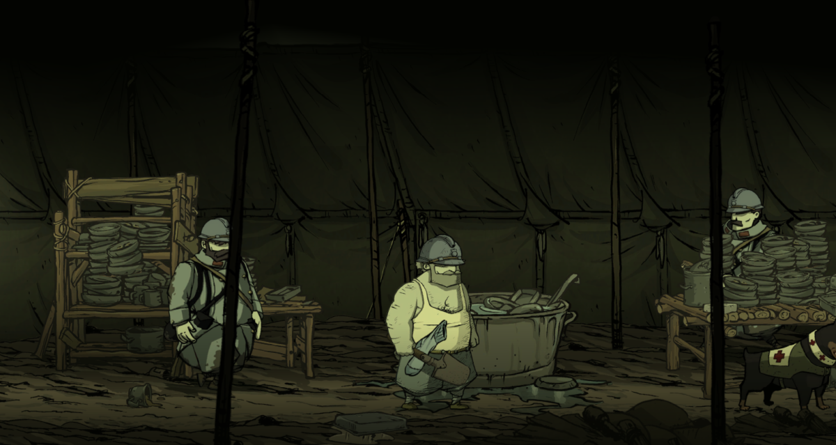 Emile wanders through a washing tent in Valiant Hearts.