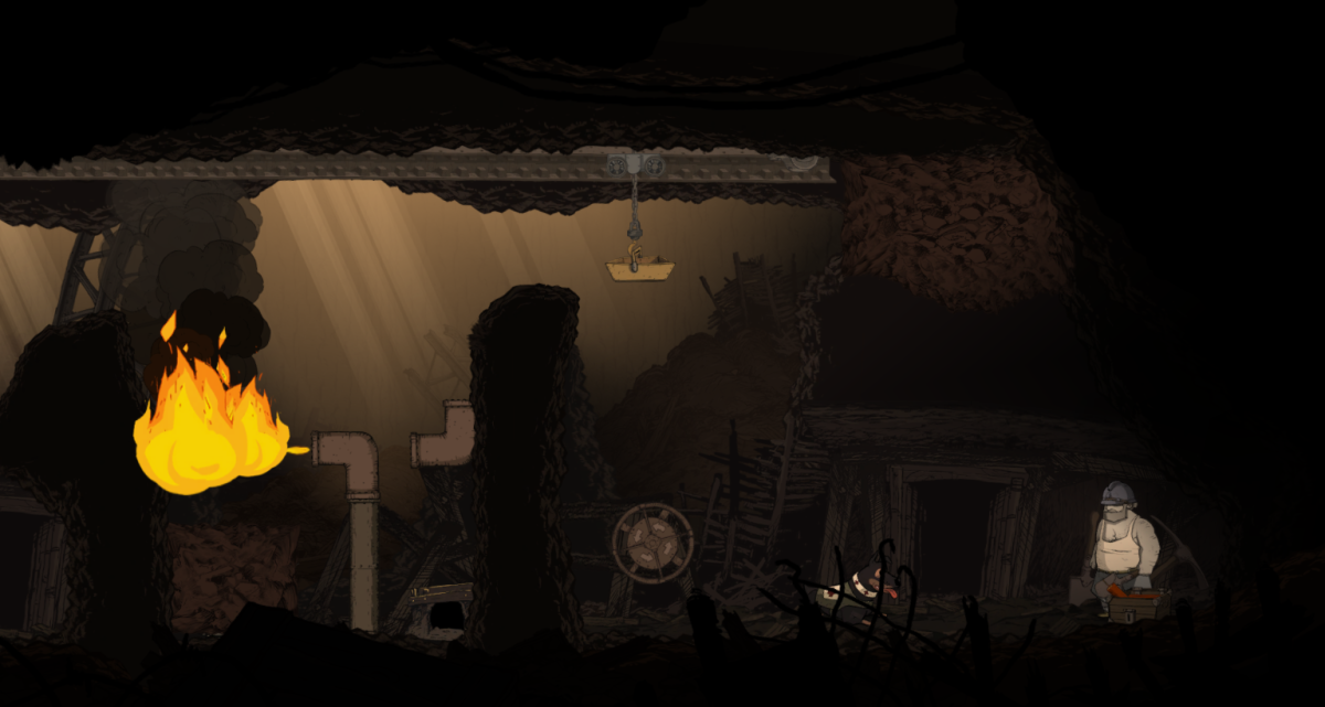 Emile navigates a puzzle in the Vaquois' Mines section of Valiant Hearts.