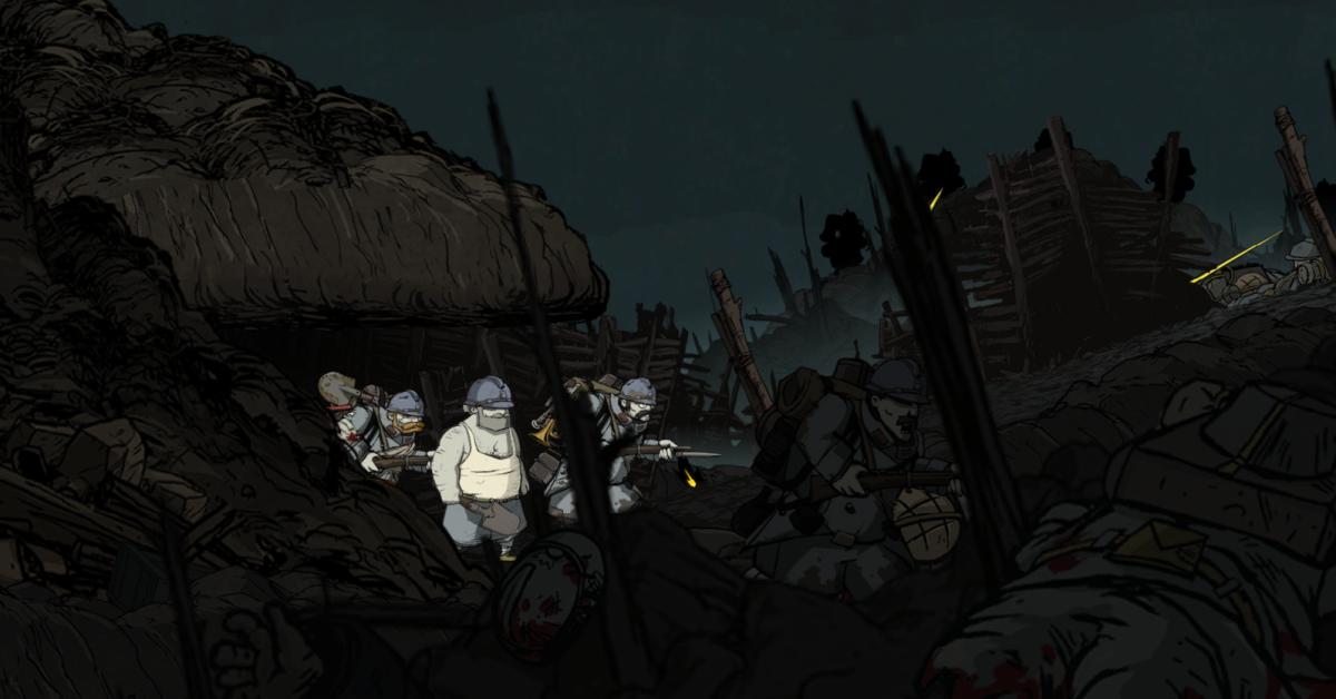 "Emile navigates the chaos of Vimy Ridge in ""Valiant Hearts."""