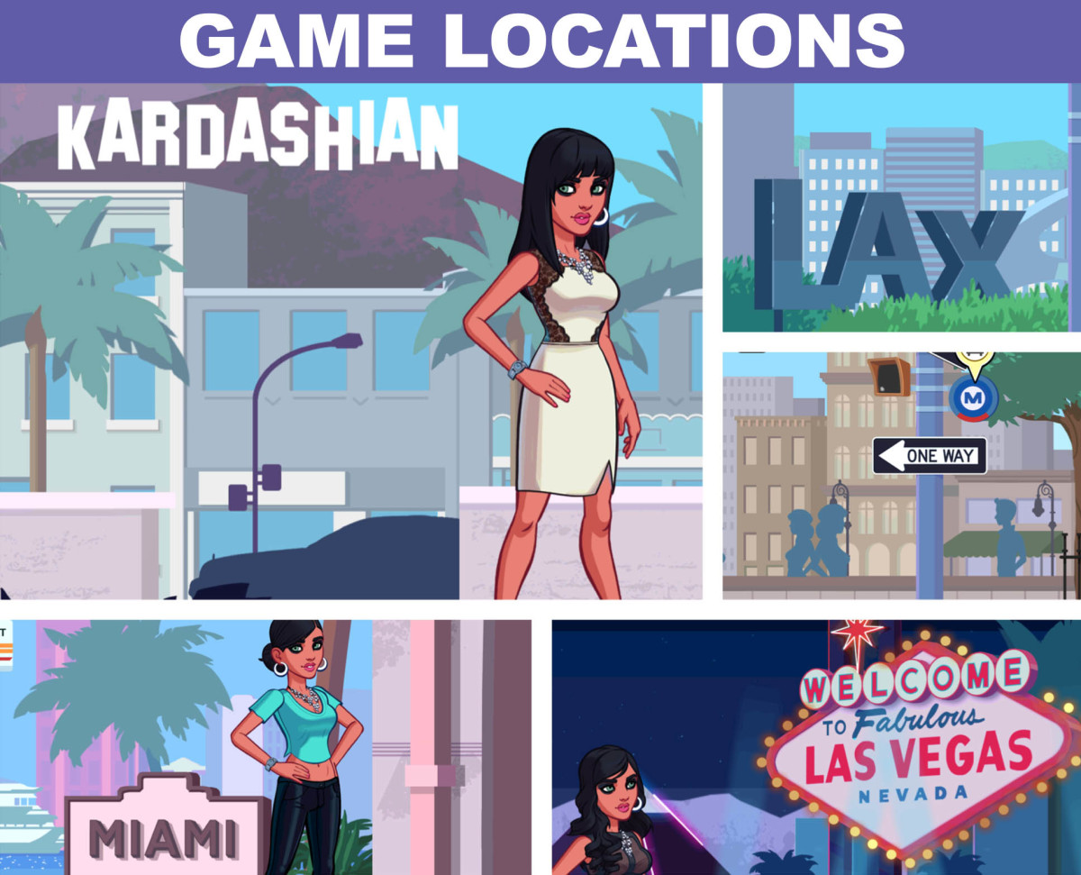 "Cheats for ""Kim Kardashian: Hollywood"" game locations. Hollywood, LAX, New York, Miami and Las Vegas. New locations include Punta Mita, Mexico, Paris France and London, England."