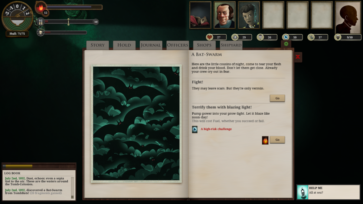 The player encounters a Bat Swarm in Sunless Sea.