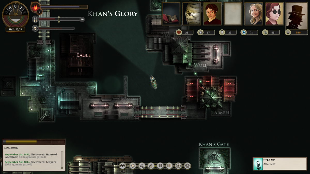 "The player navigates the harbours of Khan's Glory in ""Sunless Sea."""