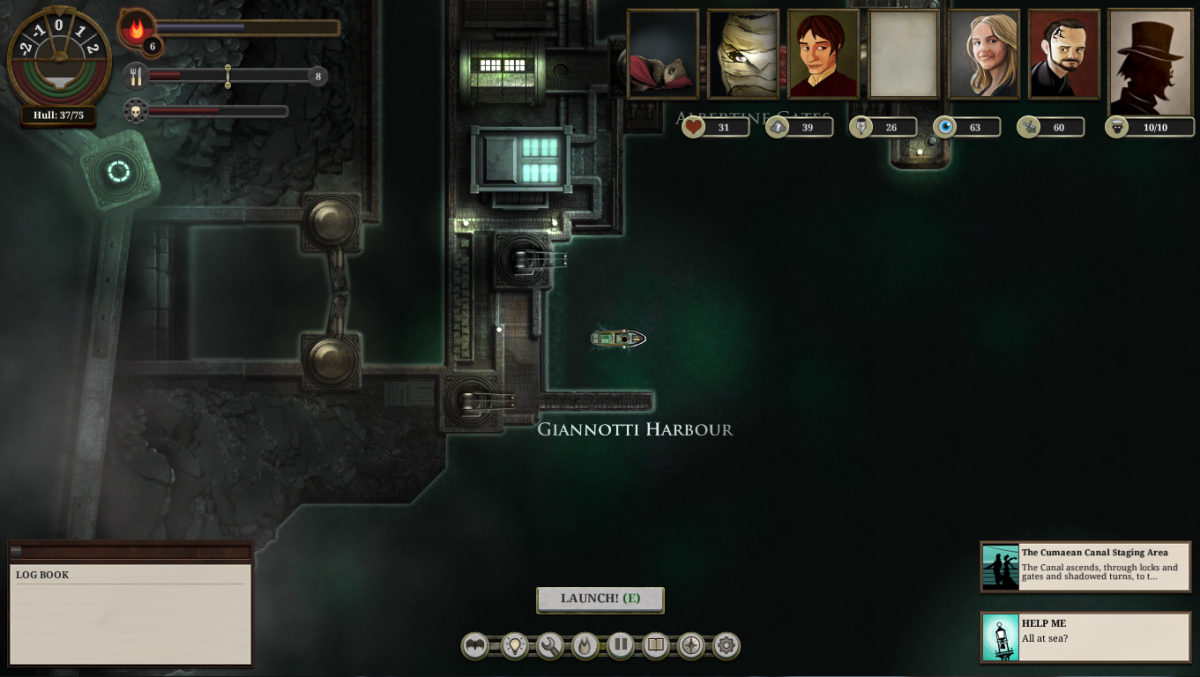 "The player returns to harbour in ""Sunless Sea."""
