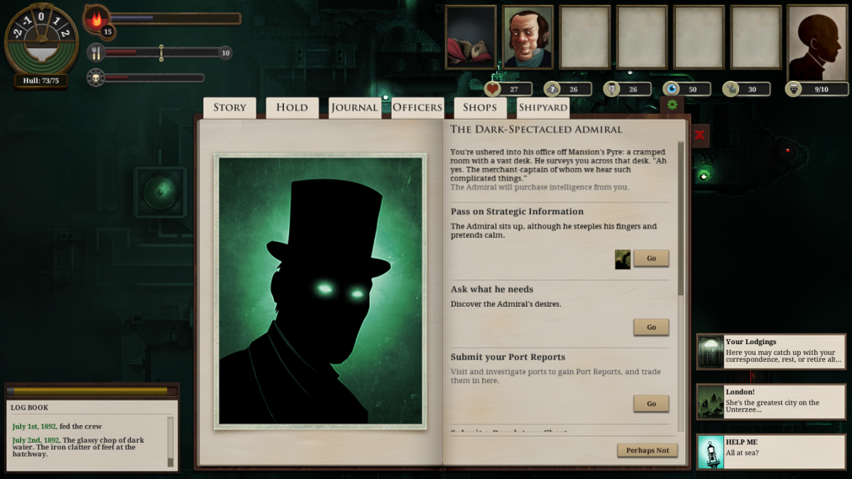 "The player speaks to the Dark-Spectacled Admiral in ""Sunless Sea."""