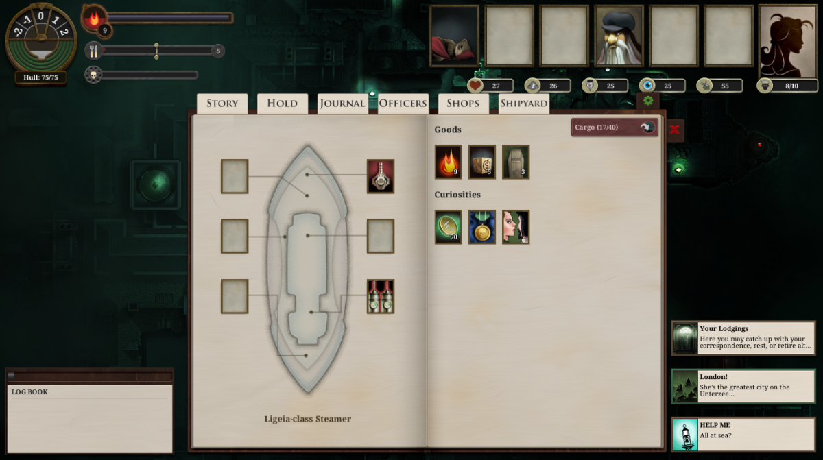 An overview of the player's ship in Sunless Sea.