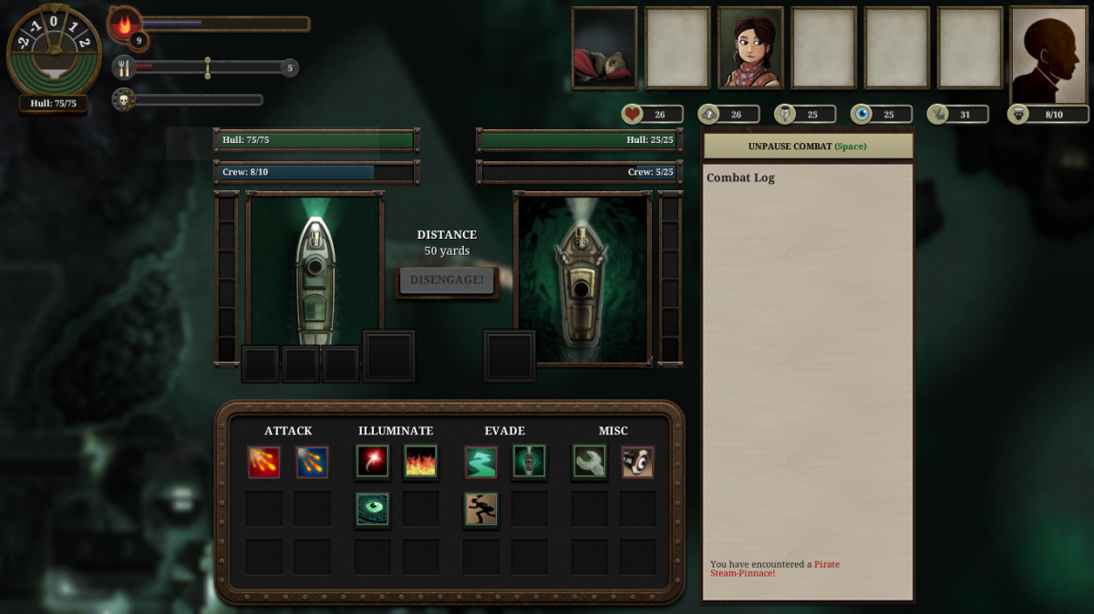 The player battles another ship in Sunless Sea.
