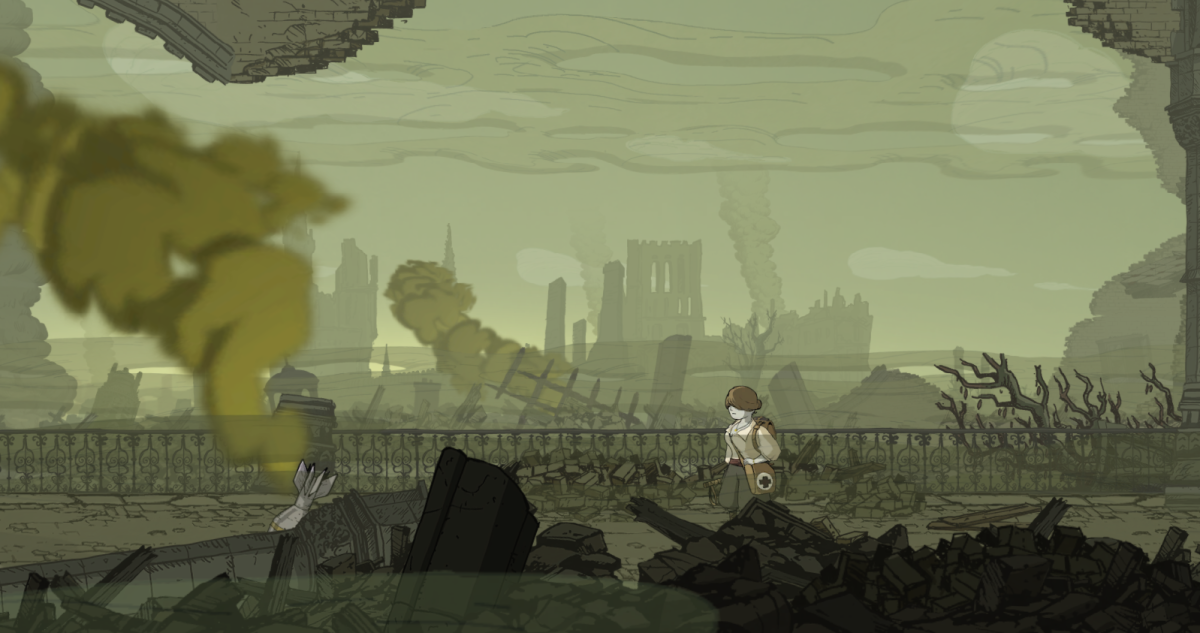Anna surveys the devastation wrought in Ypres, part of Valiant Hearts.