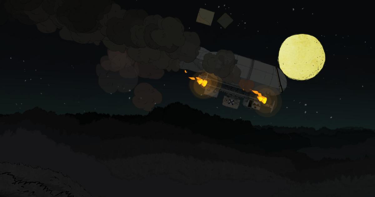 The Baron's airship crashes in Valiant Hearts.