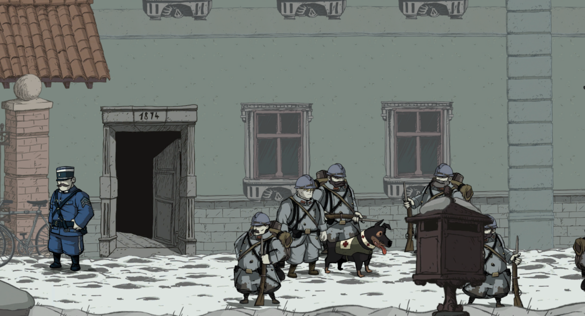 Karl sneaks past enemy soldiers while disguised in Valiant Hearts.
