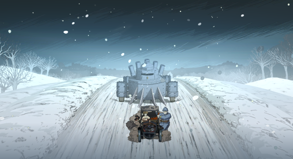 Karl and Anna flee from the Captain by taxi in Valiant Hearts.