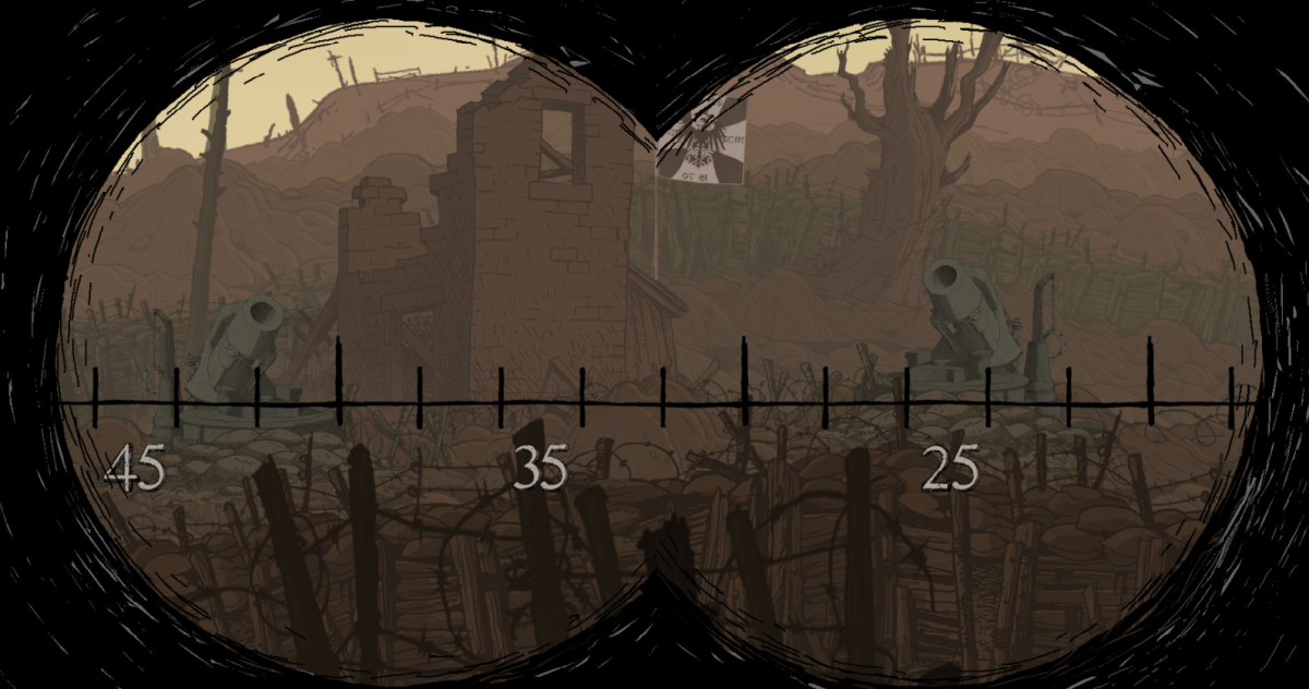 Freddie targets an enemy position from a distance in the Vimy section of Valiant Hearts.