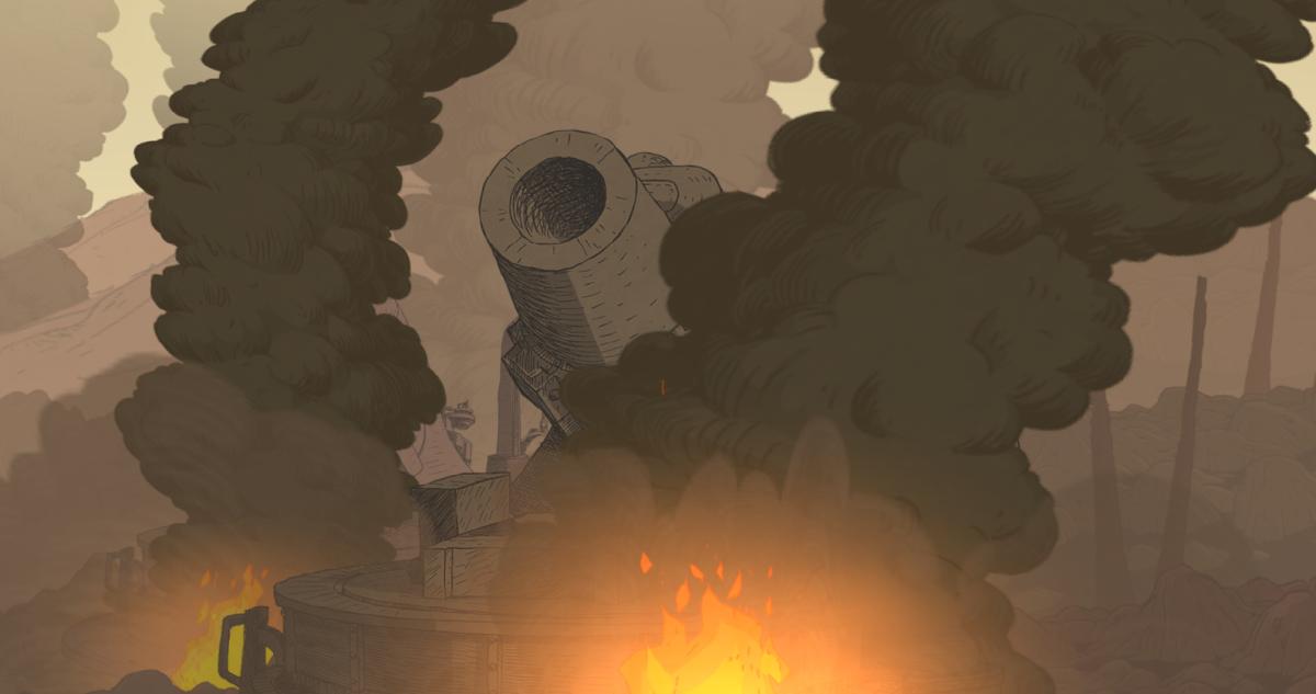 A burning artillery gun in Valiant Hearts.