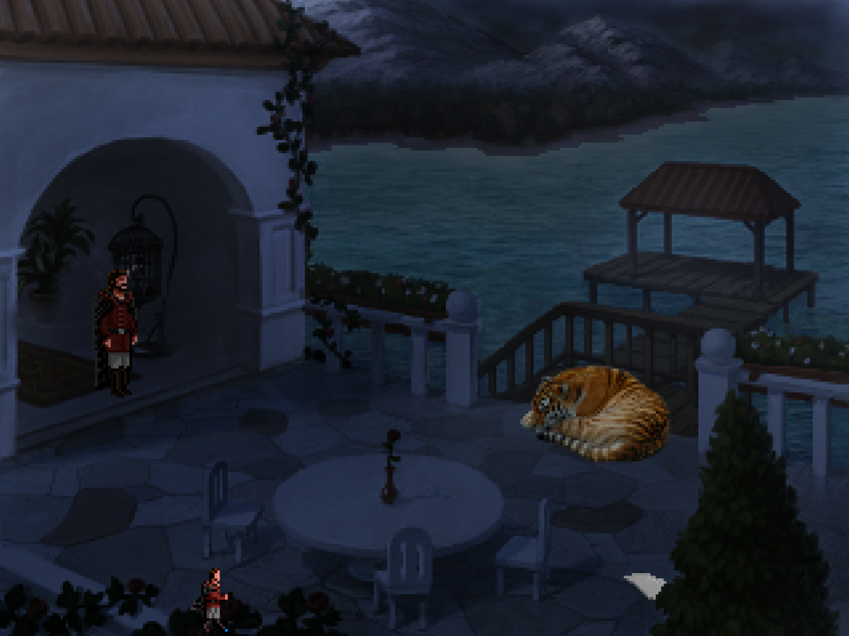 Roehm sneaks into the home of Tyr's mayor in Quest for Infamy - and discovers a large, powerful, and (mercifully) sleeping tiger.