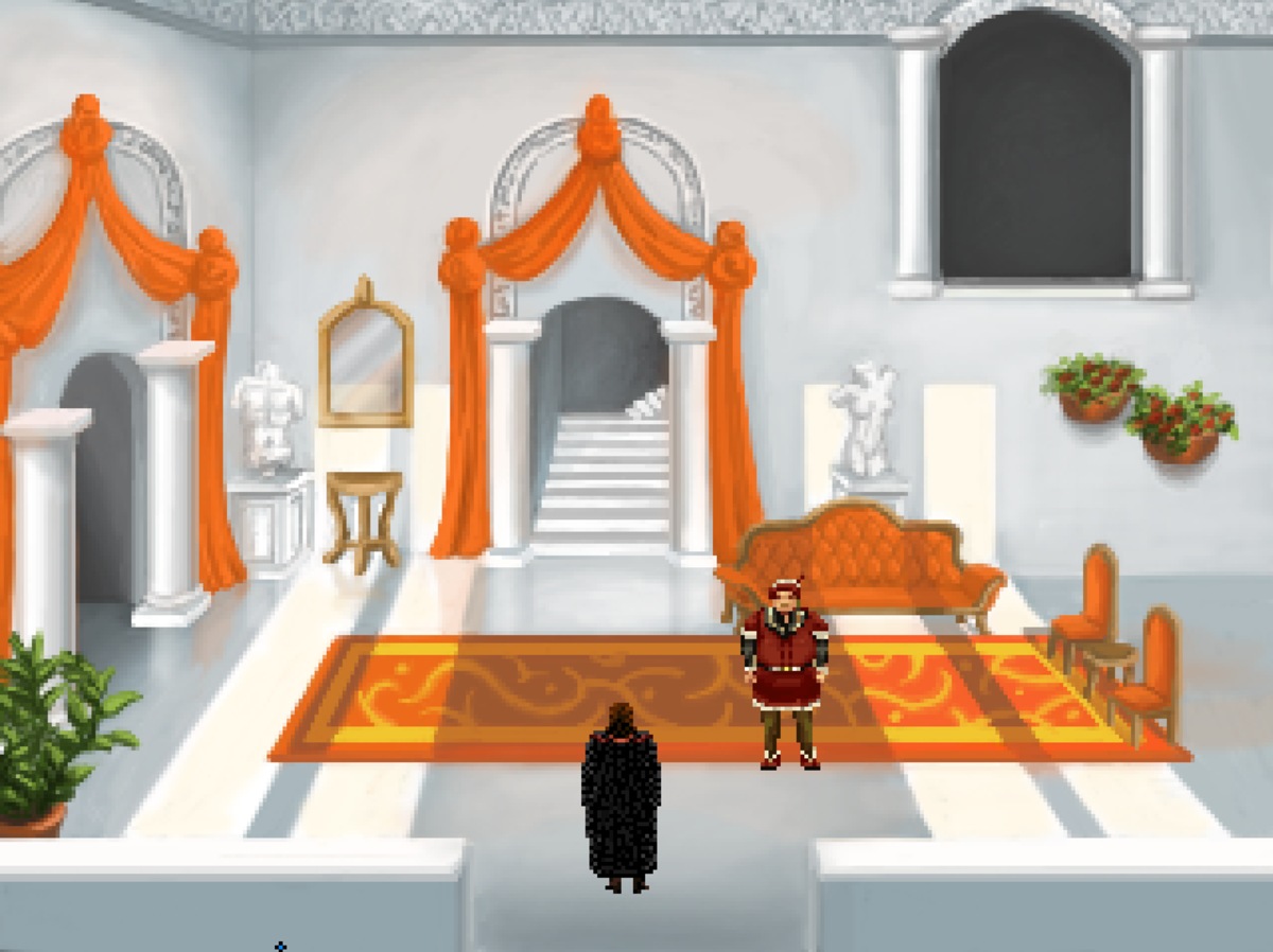 Roehm enters the home of Tyr's mayor in Quest for Infamy.