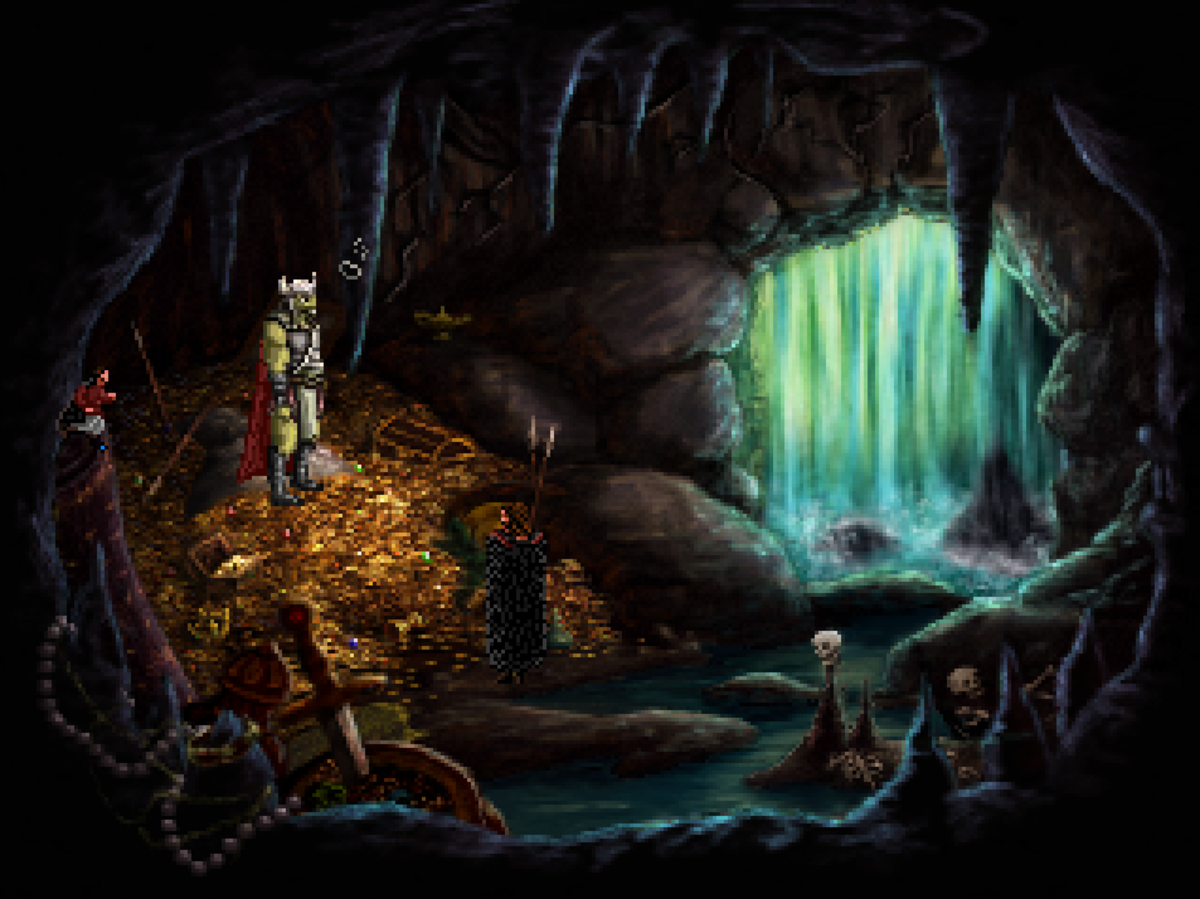 A gnoll's den behind a waterfall in Quest for Infamy.