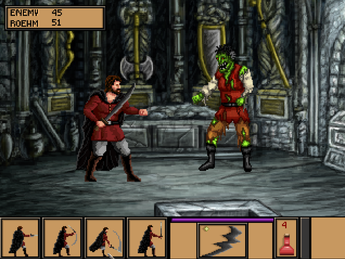 Roehm fighting a ghoulish opponent in Quest for Infamy.