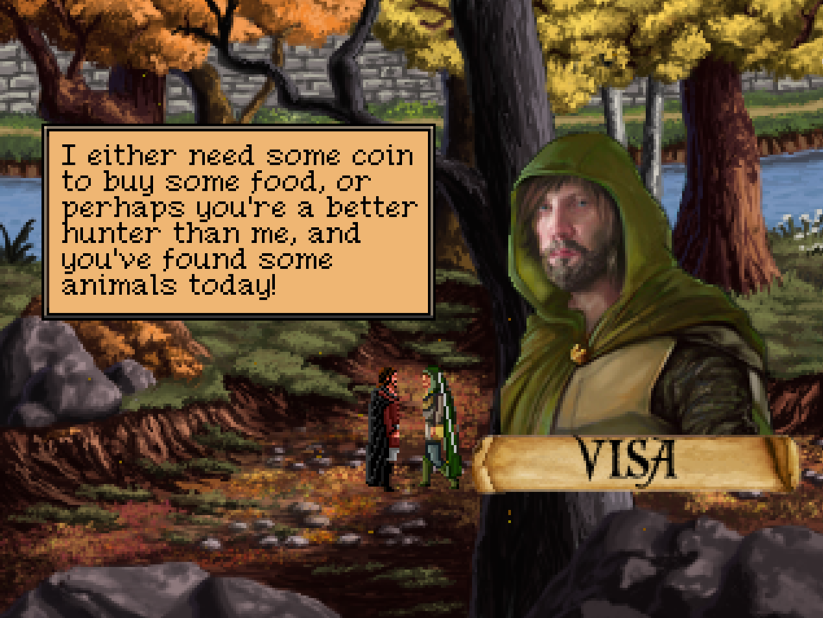 Visa, a hunter in the southern woods of Quest for Infamy.