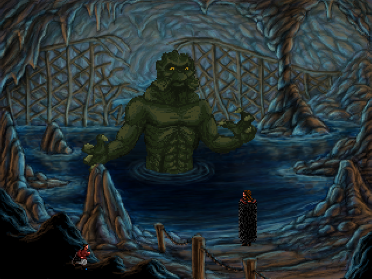 The Kraken, found deep within the Dwarven Mines of Quest for Infamy. You'll need some good timing to bypass this fiend.
