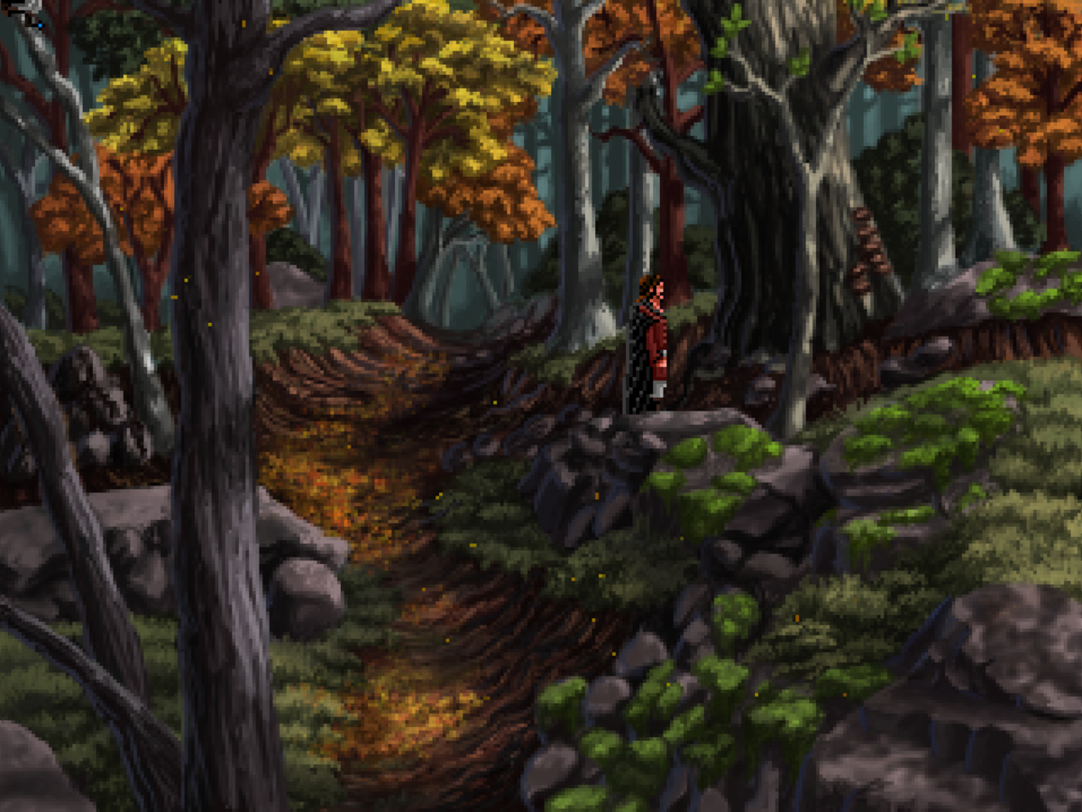 Roehm exploring the southern woods in Quest for Infamy.