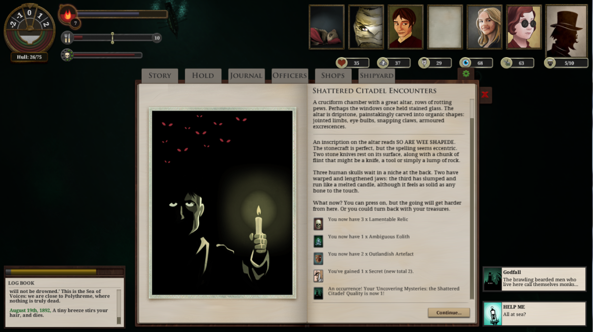 The player explores the depths of the Shattered Citadel in Sunless Sea.